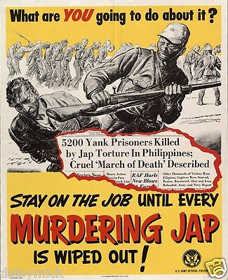 Murdering Jap Anti Japanese USA World War 2 Propaganda Poster 6x5 Inch Reprint
