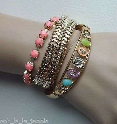 Stylish 2 Pcs. Gold Pink Purple Blue Stones Stretch Bangle Bracelet Set