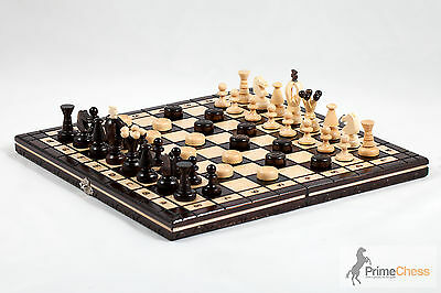 "14"" Brand New Hand Crafted Wooden Chess And Draughts Set 35x35"