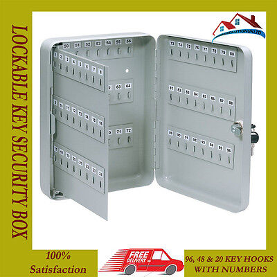 New 20 48 96 Hook Steel Wall Mounted Lockable Key Cabinet Locking Security Box