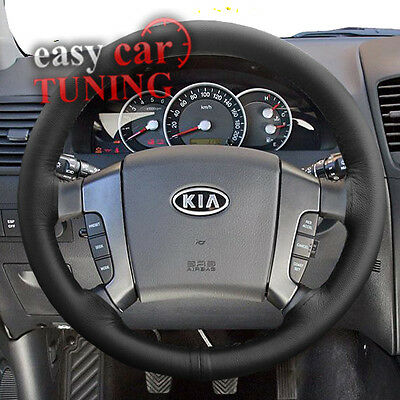 For Kia Sorento 2002-2009 Black Real Genuine Leather Steering Wheel Cover New