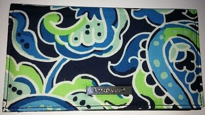 Longaberger Fabric Duplicate Checkbook Cover Daydream Blue Floral Paisley NEW