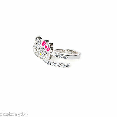 Hello Kitty Sanrio Pave Crystal Wrap Ring Sparkle Bling Fashion Ring Size 7  NWT