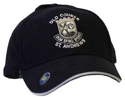 "St Andrews "" The Old Course Black Golf Hat w Ball Marker - Masters Ball Marker"