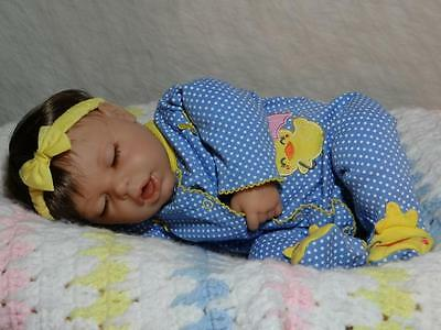 Reborn Berenguer Sleeping Baby Girl Nlm Rare  Must See Nlm Ducky Outfit Cute