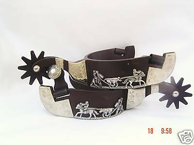 Cowboy Rodeo Western Trophy Style Team Roping Spurs Roper