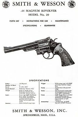 Smith & Wesson .44 Magnum Model 29 Revolver Parts, Use & Maintenance Manual