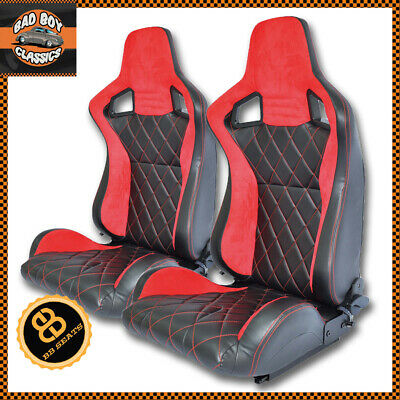 Pair BB6 Reclining Bucket Sports Seats Red Cross Stitch LANDROVER DEFENDER