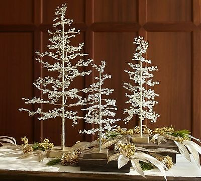 """set/2 pottery barn Faceted jewel tree,glass,Large+Medium,glass,21""""+30"""""""