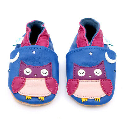 Dotty Fish Soft Leather Baby & Toddler Shoes - Blue Owl - 0-6 Months - 3-4 Years