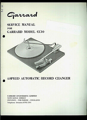 Rare Original Factory Garrard CC10 Turntable Record Player Service Manual