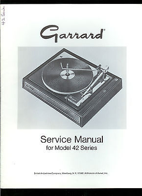Rare Original Factory Garrard 42 Series Turntable Record Player Service Manual