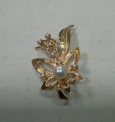 Vintage 14k Yellow Gold Pearl Brooch Pin ALA