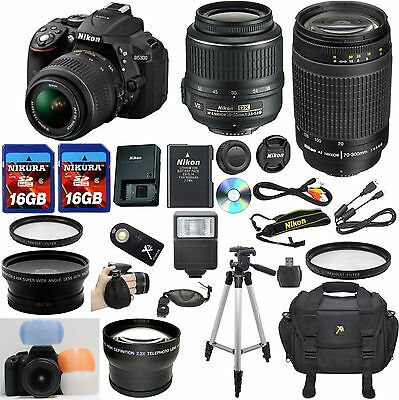 Nikon D5300 Black DSLR Camera w/ VR 18-55mm + 70-300mm G +32GB Top Value Bundle
