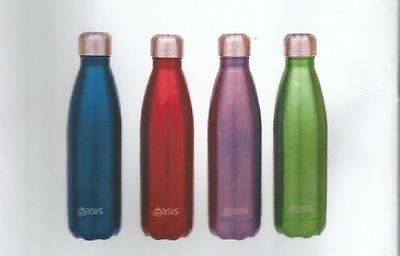 D.Line Oasis Stainless Steel Double Wall Insulated Water Bottle 500ml Aqua