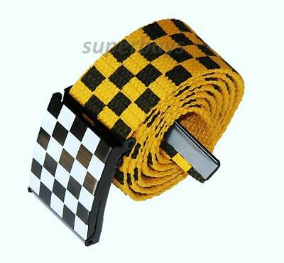 "Unisex 24- 42"" Men Women Check Canvas Waist Belt Racing Grid Buckle Band Yellow"