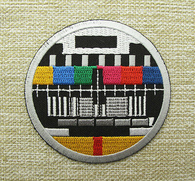 RETRO TV TEST CARD Round Iron Sew On Embroidered Patch