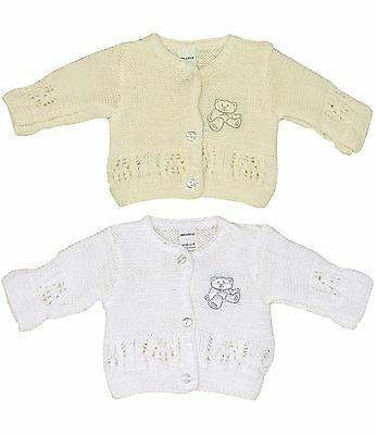 BabyPrem Preemie - 6m Baby Boys Girls Clothes Knitted White Cream Cardigan Cardy