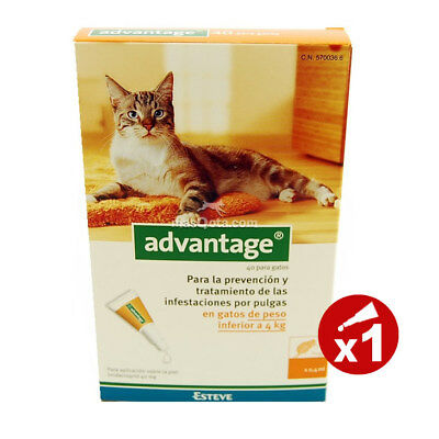 Advantage 40 Gatos (Menos De 4Kg) - Antiparásitos - 1 Pipeta