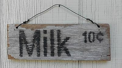 """""""Milk"""" handmade antique style sign, reclaimed wood, rustic, white, kitchen,decor"""