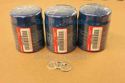 Genuine OEM Honda Oil Filter 3 Pack  w/ Washers (15400-PLM-A02) & (94109-14000)