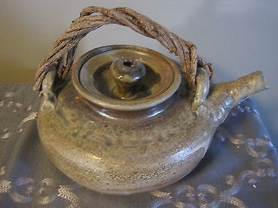 VTG VINE  stoneware TEA POT kettle ceramic pottery hand crafted made drip glaze