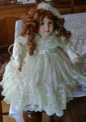 Life Like Porcelain DOLL LAMP Auburn Hair Brown Eyes Ivory White Lace Dress 22in