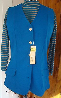 Vtg 70s NWT Queen Casuals Teal Blue Dbl Knit Vest 15-16 Stripe Sweater Back Zip