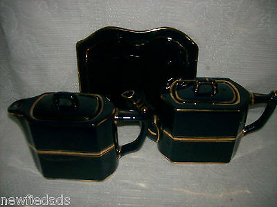Wade Tea Set Tray Cobalt blue Gold Pottery England Coffee Pot marbled EC HTF