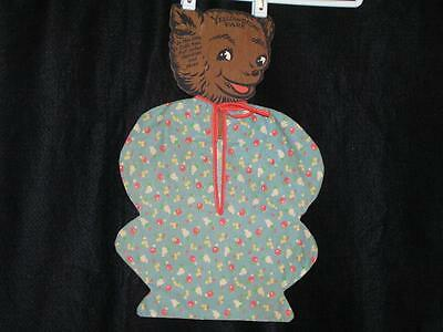 Yellowstone Souvenir Wooden Bear Cub Hanger w/1940's Fabric Lingerie Bag