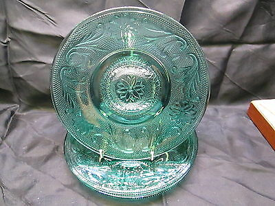 Three Sandwich Saucers by Indiana Glass - 6 inches - Teal Blue