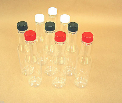 5oz Clear Hot Sauce Style Plastic Bottles White, Black ,Red, Gold You Pick L & C