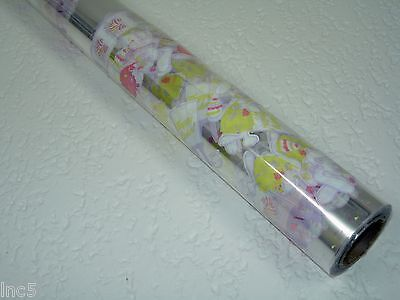 "4 Rolls 20"" x 100' Easter Bunny Designs Clear Cellophane Gift Wrap"