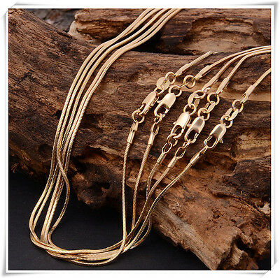 New! Wholesale lots 5pcs 18K Yellow Gold Filled snake Chain Necklace 18-22 inch
