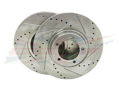Pair Brake Rotors Drilled & Slotted for MGC Austin Healey 3000 BJ8 From (c)26705