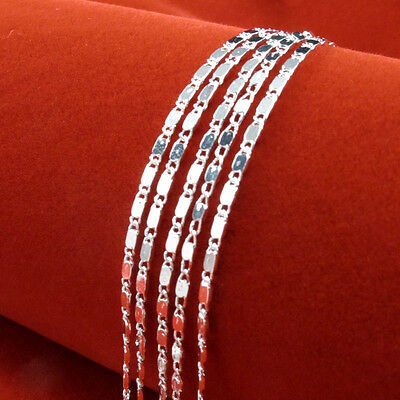 "Wholesale 5PCS 925 Sterling Silver 2MM Shiny Curb Flat Chain Necklace 16""-30""lot"