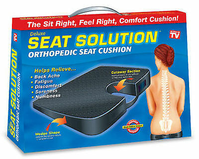 New Seat Solution Cushion Chair Back Orthopedic Spine Ache Coccyx Pain Relief