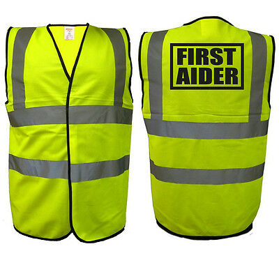 First Aider Hi Vis Vest | High Visibility Event Health Safety Aid Viz EN471 0344