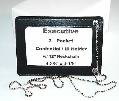 NEW Black 2 Pocket Credential ID Badge Holder Name Tag Wallet Neck Chain