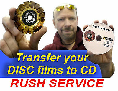 Disc Films (Kodak, Fuji or other) scanned to CD. Disc scanning. RUSH Service