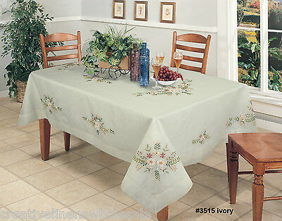 """Ribbon Embroidered Daisy Floral Sheer Tablecloth 70x120"""" Ivory Creative Linens"""