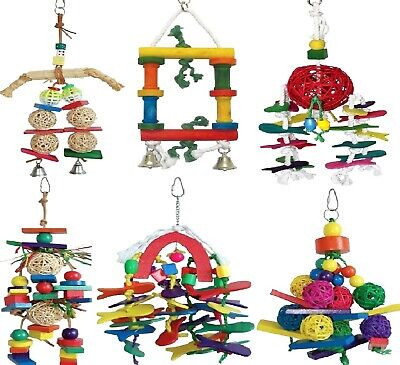 PARROT TOYS - Wooden Hanging Toy Rope Bell Rawhide Bird Cockatiel Pet dm Clip