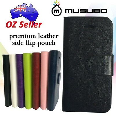 Genuine Musubo Leather cover case wallet with card pouches For various models