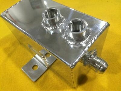 1 Litre Oil breather or catch can polished aluminium with AN-8 and -10 fittings