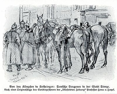 1914 Lothringen * Deutsche Dragoner in der Stadt Dieuze * antique print