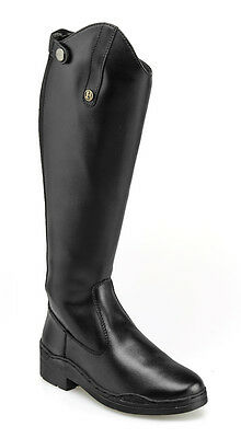 Brogini modena long riding boots, synthetic leather, zip up, black