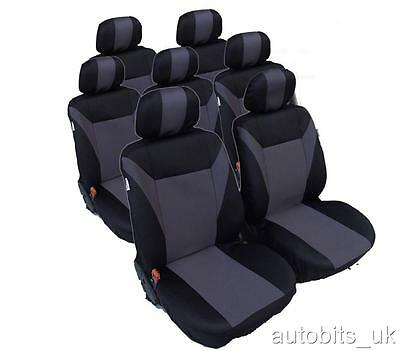 Full Set  Grey-Black 7X Fabric Seat Covers For 7 Seater  Avensis Verso