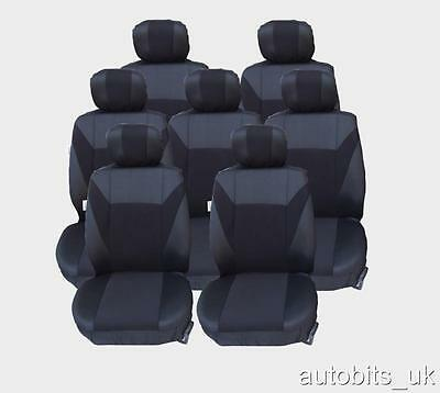 Full Set Black 7X Fabric Seat Covers For 7 Seater  Avensis Verso