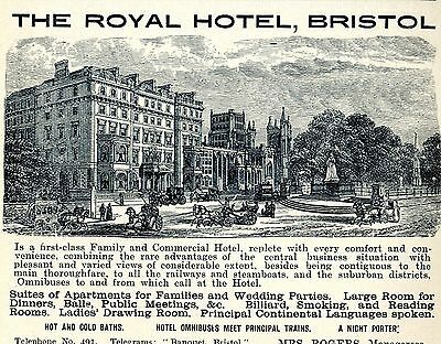 THE ROYAL HOTEL Bristol GB Historische Reklame von 1904