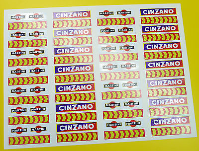 SLOT CAR SCALEXTRIC 1/32nd Barrier stickers decals Martini chevrons x56!